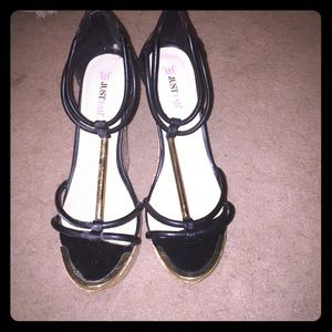 Black wedged heels from JustFab. Brand new